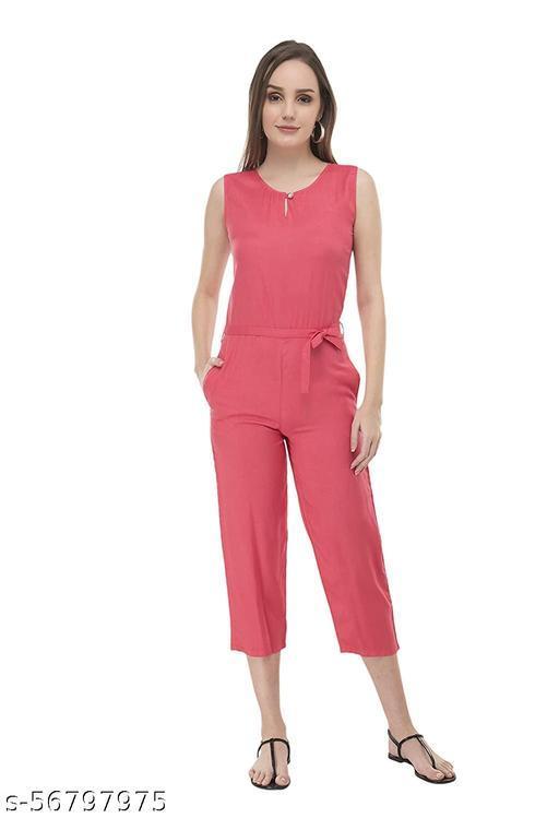 Women Pink Sleeveless Culotte Length Jumpsuit