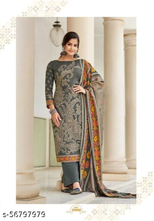 Latest Designer Pashmina Woolen Embroidery Suit With  Shawl