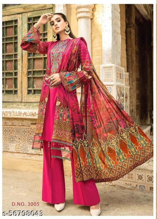 Lawn Cotton Karachi Printed Suit with Mal Cotton Dupatta