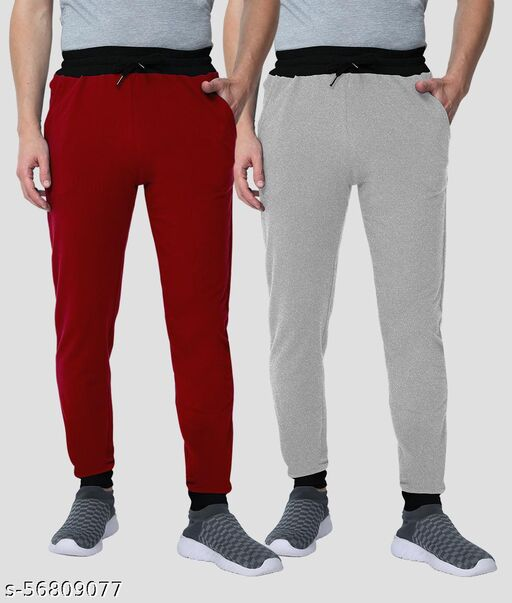 TEE TIME'S HIGH QUALITY MENS 2 COMBO JOGGER-TRACK PANT [MAROON-GREY]