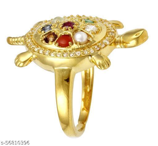 Brass Navratan Kachua Tortoise Meru Ring Adjustable For Men and Women (Multicolor)
