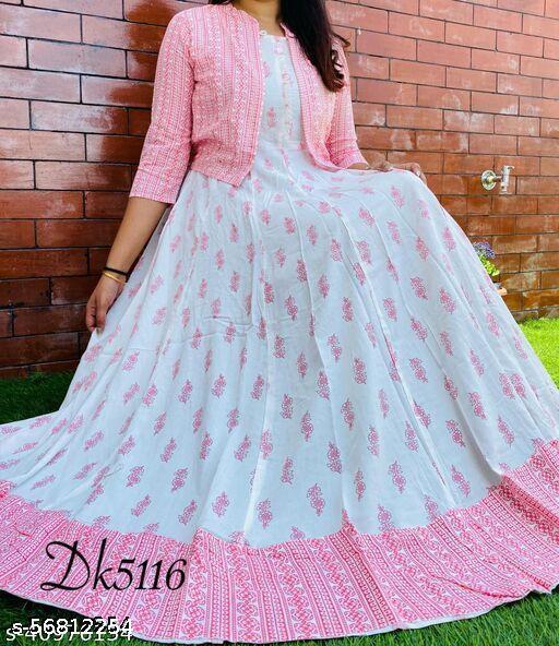 Women Rayon Printed Pink Kurti With jacket