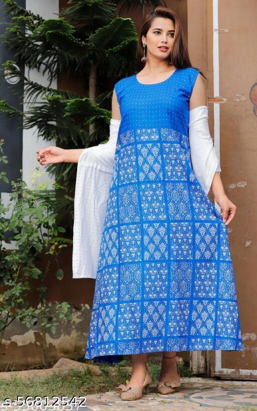 Women Rayon Checked blue kurti with Shrug
