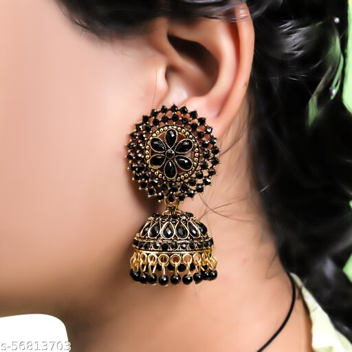 Fashion Frill Fascinating CZ & Pearl Gold Plated Jhumka Earrings For Women
