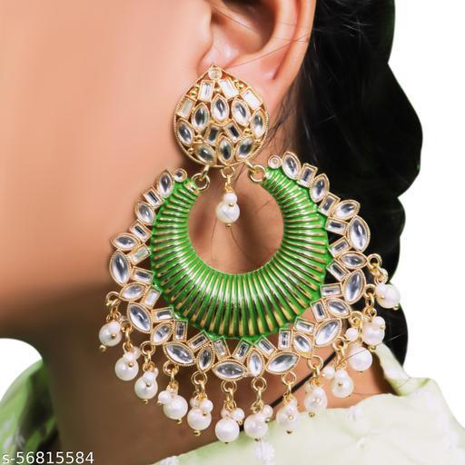 Thrillz Stylish Pearl & Kundan Gold Plated Chandbali Earrings For Women