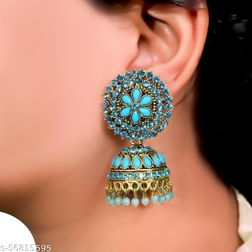 Thrillz Designer CZ & Pearl Gold Plated Jhumka Earrings For Women