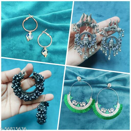 Combo of 4 earrings (Green peacock with 3 other earrings)