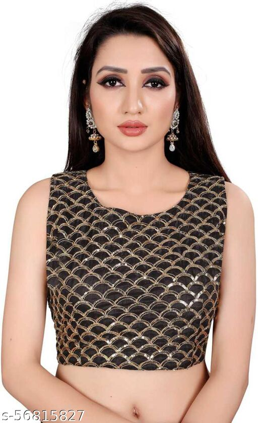 HITARTH FASHION Girl's & Women's Cotton Silk Readymade Round Neck Sleeveless Blouse (Fit Up To Bust Size : 38 to 42)