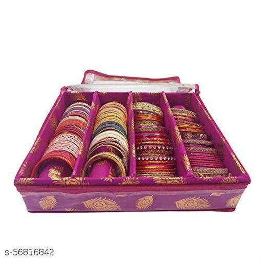 Fancy Bangle Box Brocade Hardboard Bangle Box Bangle Organizer Box Jewellery Storage Box (Pink, 4 Rod)