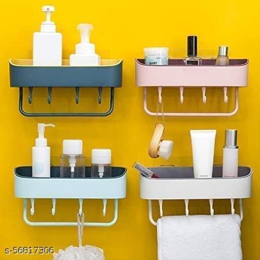 Plastic Bathroom Shelf With 4 Hook