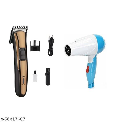 AT-205 HTC Rechargeable Clipper Cordless Hair Trimmer and Nova Hair Dryer 1000w NV-1290 Combo Pack