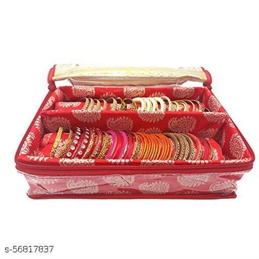 Fancy Bangle Box Brocade Hardboard Bangle Box Bangle Organizer Box Jewellery Storage Box (Red, 2 Rod)