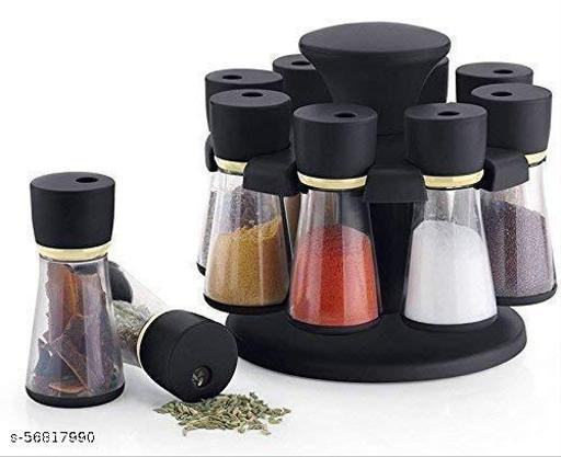 8 in 1 Plastic Revolving Spice Container Storage Rack Set (120ml, 20cm X 10cm X 10cm, Black)