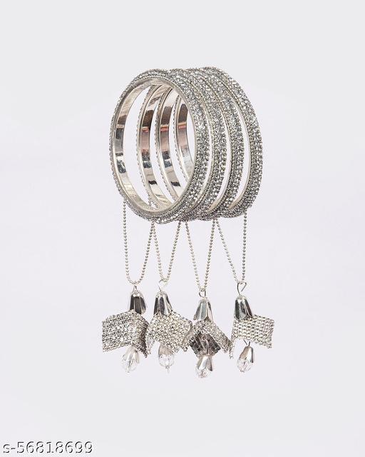 Big Store Silver Zircon Traditional with Latkan Ethnic Kada Tribal Antique Designer Bangle for Women and girls (Set of 3)