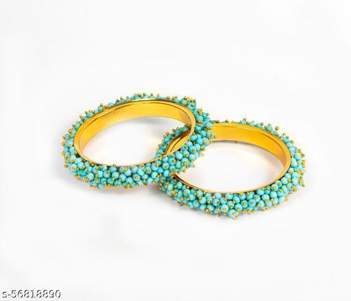 Big Store Traditional Beads Kada Tribal Antique Designer Bangle for Women and girls | Blue (Set of 2)