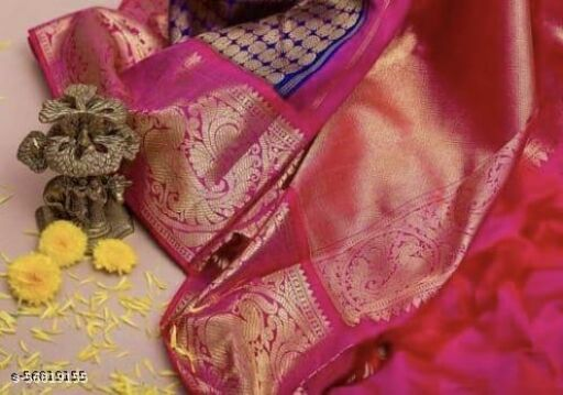 Paithani silk saree Traditional Paithani Reach Royal Blue Color With lovely Pink Pallu