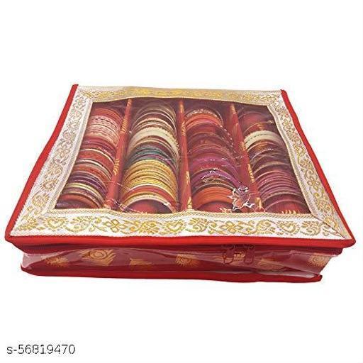 Fancy Bangle Box Brocade Hardboard Bangle Box Bangle Organizer Box Jewellery Storage Box (Red, 4 Rod)