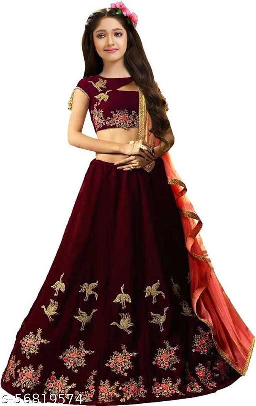 Girl's Taffeta Silk Semi-Stitched Lehenga Choli lck mor two color (9-14 yrs)