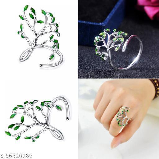 Green Leaves Branch Finger Ring
