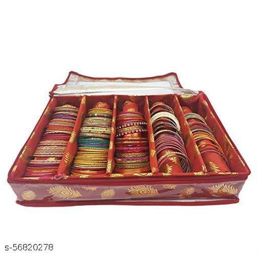 Fancy Bangle Box Brocade Hardboard Bangle Box Bangle Organizer Box Jewellery Storage Box (Red, 5 Rod)