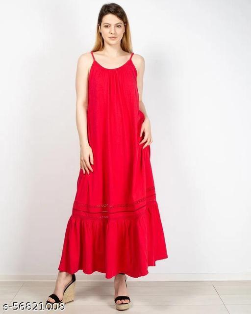 Women Long cotton dress with thin straps