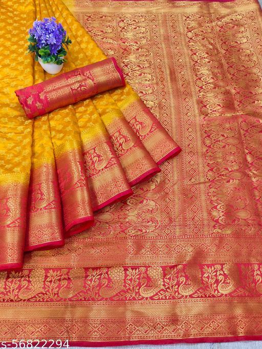 Vernieeva New Yellow Colour Kanjeevaram Silk Sarees