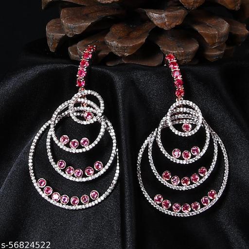 Precious Jewellery ZirconROSE GOLD RHODIUM BRASS Earring Set (PINK, ROSE GOLD)