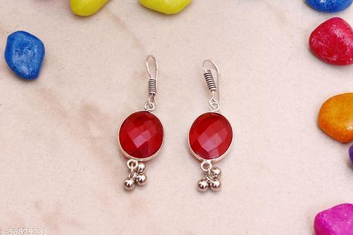 SHREESHYAMTRADERS Germa Carnelian Silver Red Stone Earring