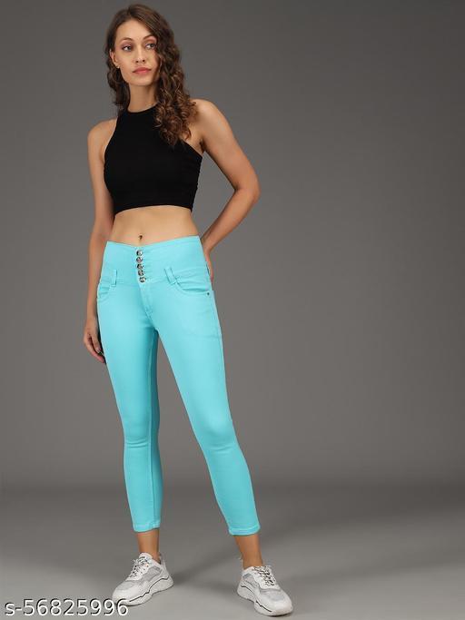5 Button Stretchable Ankle Length Denim Lycra Slim Women Blue  Jeans