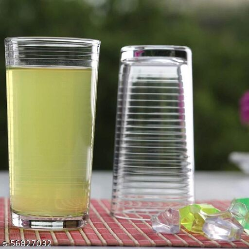 Femora Femora Clear Glass High Ball Juice & Water Glass Set for Daily Use,270 ML, Set of 4