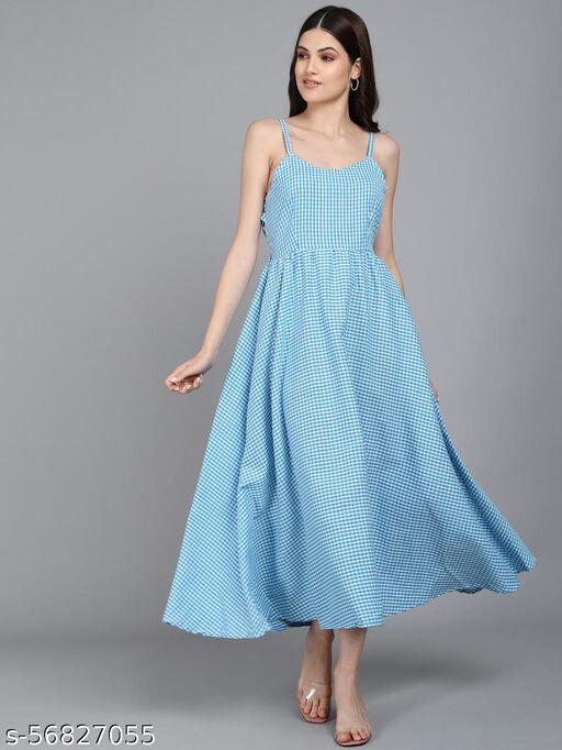 Vivient Women Shoulder Strap Small Check Cyan Cotton Dress