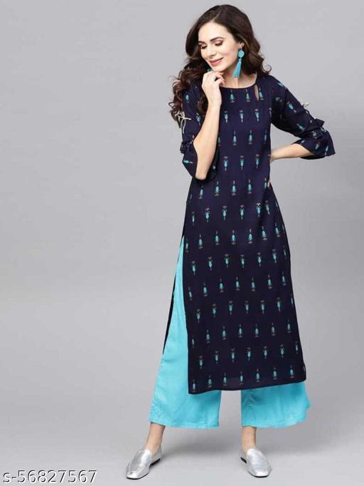 Womens Solid Rayon Printed Straight Nevy Blue Kurta