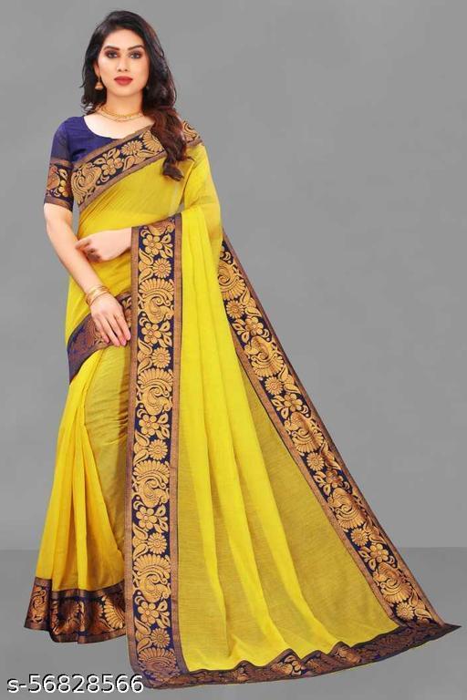 NANCY FAB Self Design Rajshahi Cotton Rayon Blend Saree  (Yellow)