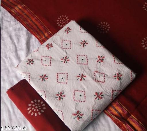 white premium poplin cotton with hand thread work