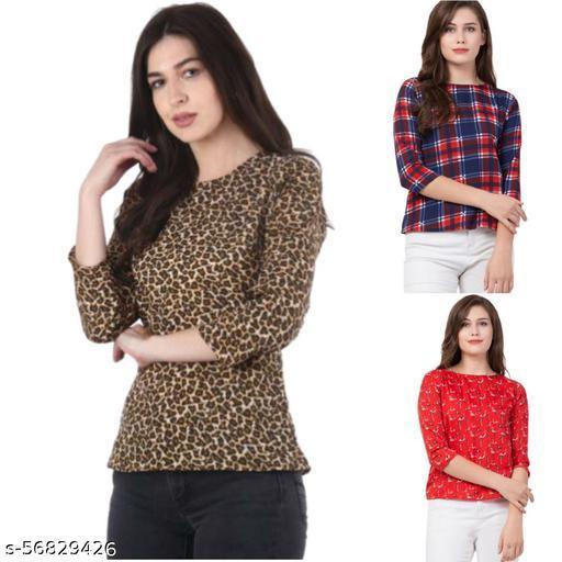 Premium Printed Regular 3/4 Sleeves Regular Top For Girls Ladies Womens