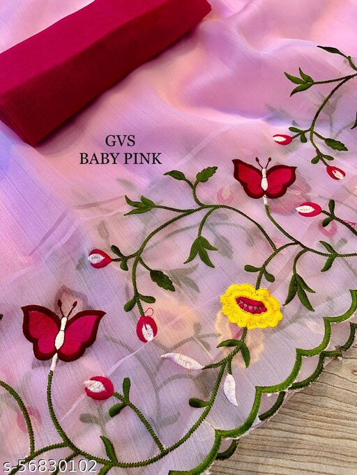 BEUTIFUL ORGANZA FLORAL EMBRODERIY SAREE WITH BLOUSE