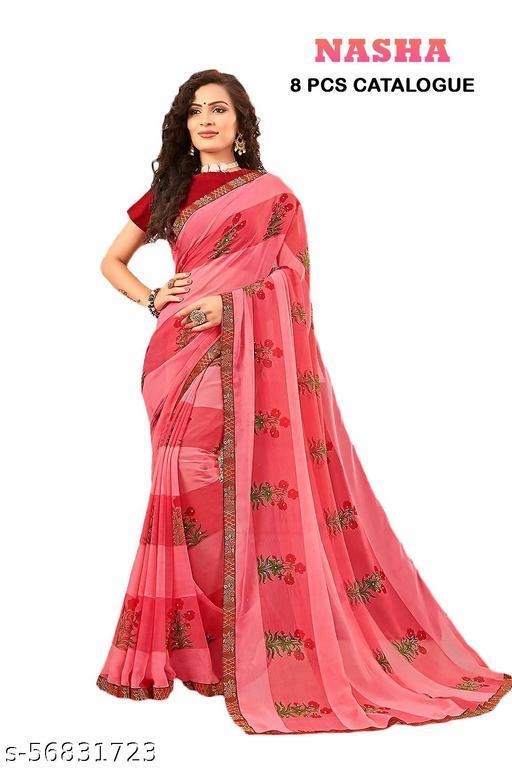 Women's Pure Chiffon Printed Saree Pack Of 8