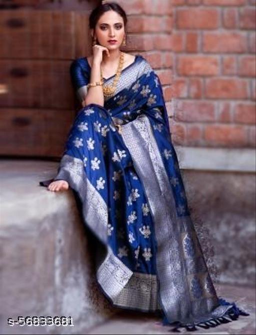 Women's Kanchipuram Silk Blend Saree With blouse piece