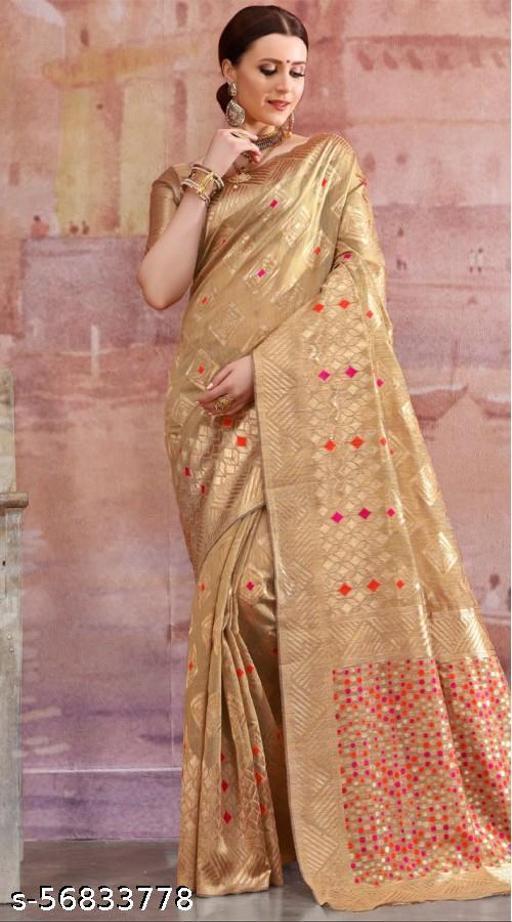 Women's Banarasi Silk Saree With Unstitched Blouse Piece
