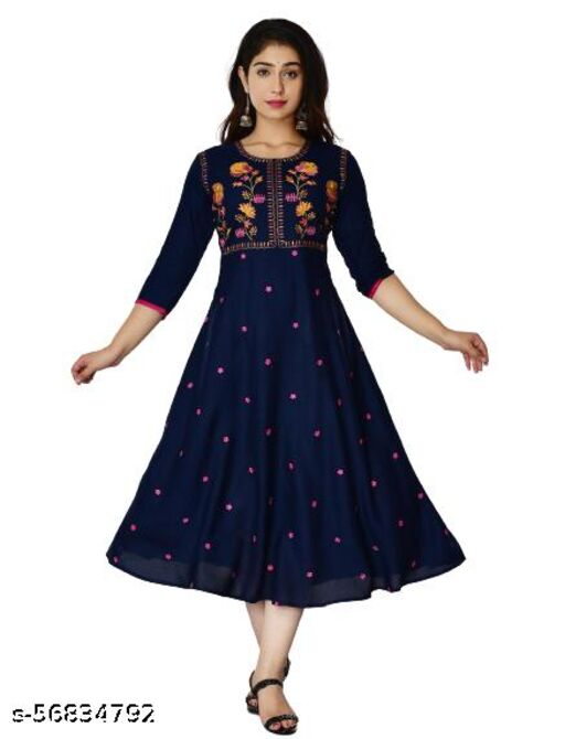 New Traditional Attractive Rayon Fabric  Embroidered Gera Kurti For Women's And Girl's
