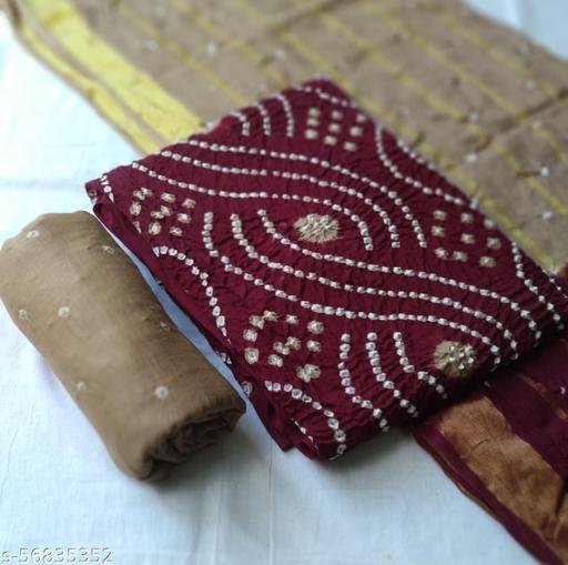 Cotton satin Bandhni dress material  Suits