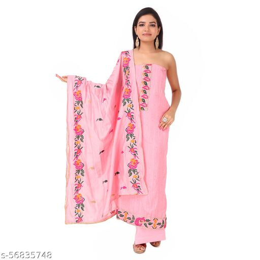 Unstitched Embroidered Cotton Suit Dress Material