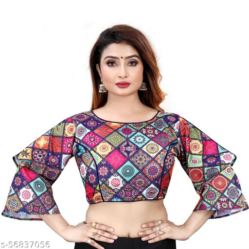 HITARTH FASHION  WING BELL SLEEVE PRINTED POLYCOTTON TRENZY READYMADE  FENCY DESING BLOUSE
