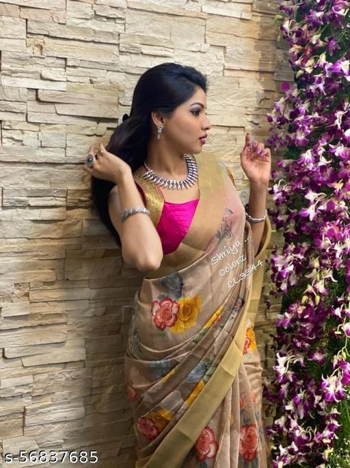 Digital floral print in Silk linen saree