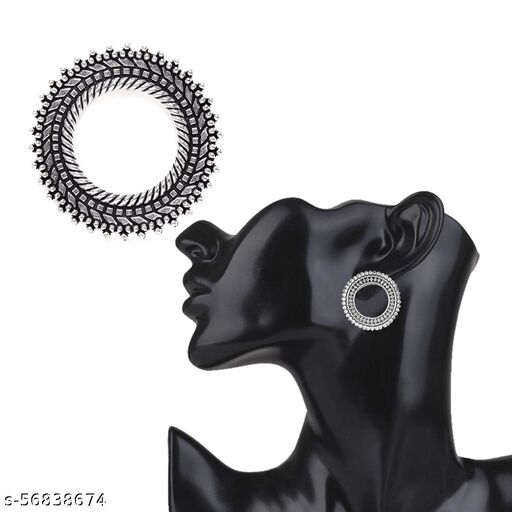 FEEL PRETTY  Beautiful Fashion Polo Stud Oxidised Dangler Stylish Fancy Earrings for Girls and Women German Silver Stud Earring for Women/Girls