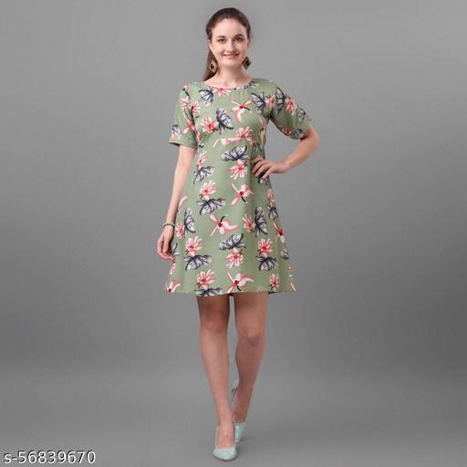 Stylish Fabulous Floral Printed Women Dress with Belt
