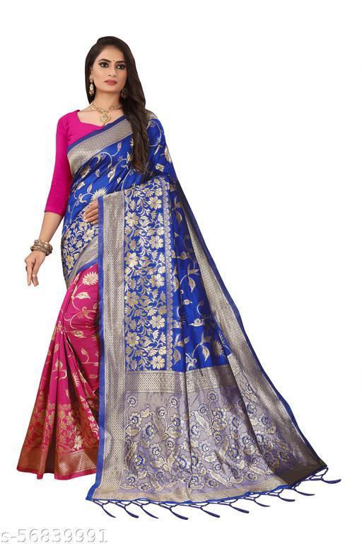 Women's Soft Lichi Silk With Half & Half Saree With Blouse (Lichi-107)
