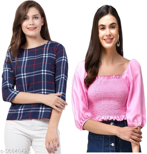 Women's stylish Printed slim Top and Trendy 3/4 Sleeves Balloon Sleeves Crop top for all occasions- Combo pack of 2