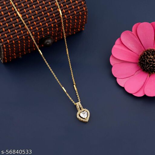 EXCLUSIVE DESIGNER GOLD PLATED CHAIN WITH FANCY DIAMOND PENDANT