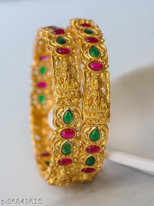Alankruthi Gold Plated Pink stones Bangles